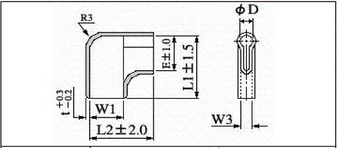 難燃性圧着端子用絶縁スリーブのサイズ表